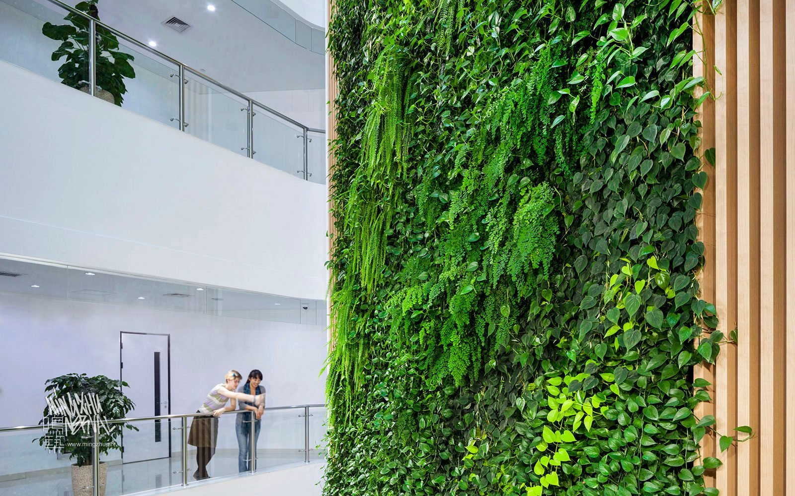 """At Mingzhu Nerval, we thrive at creating the most beautiful vertical gardens in the world. For SAP, we created a """"waterfall"""" living wall design - Shanghai, 2012."""