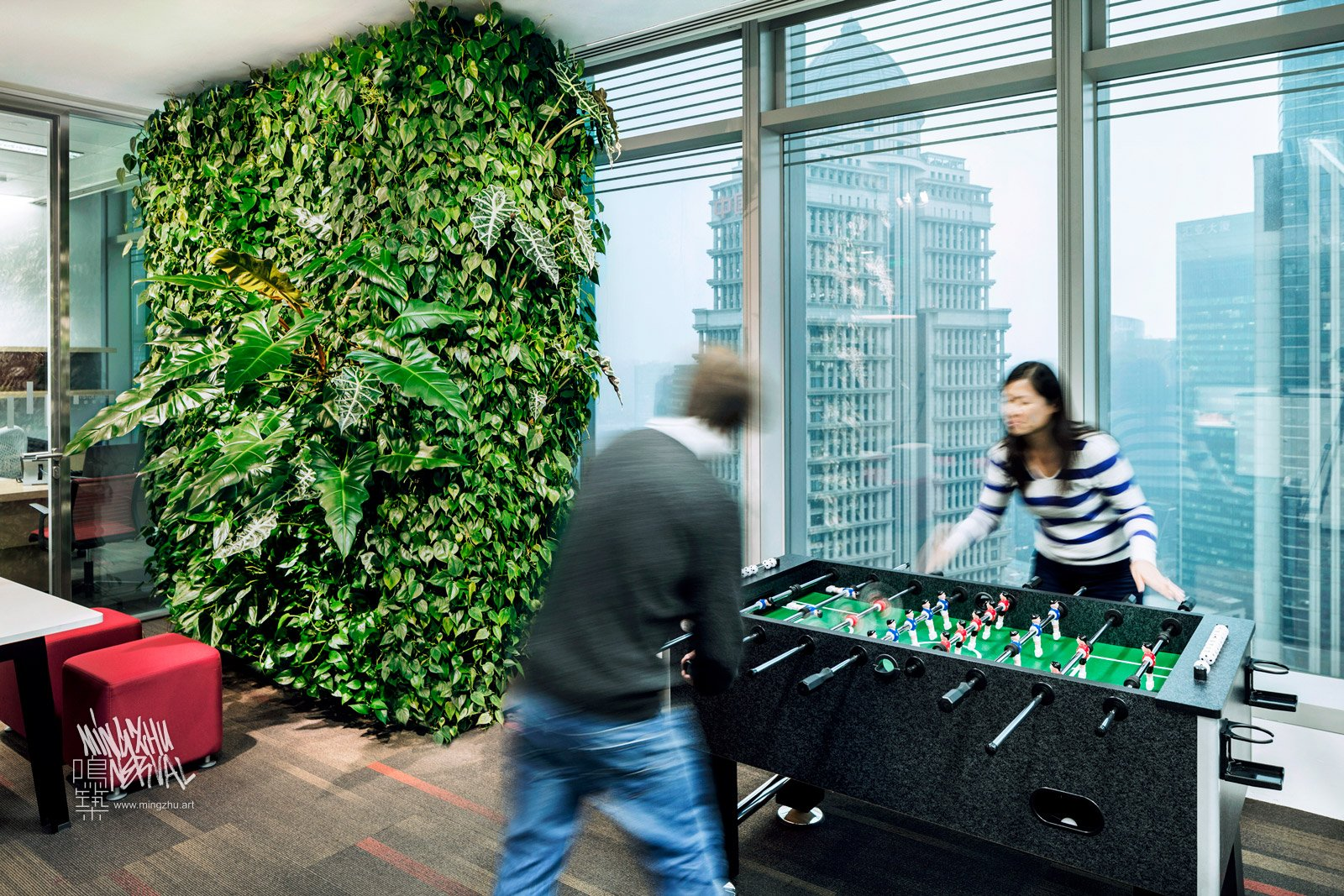 Mingzhu Nerval vertical living wall experts created a healthy nature workspace at Citrix Systems in Shanghai, 2011