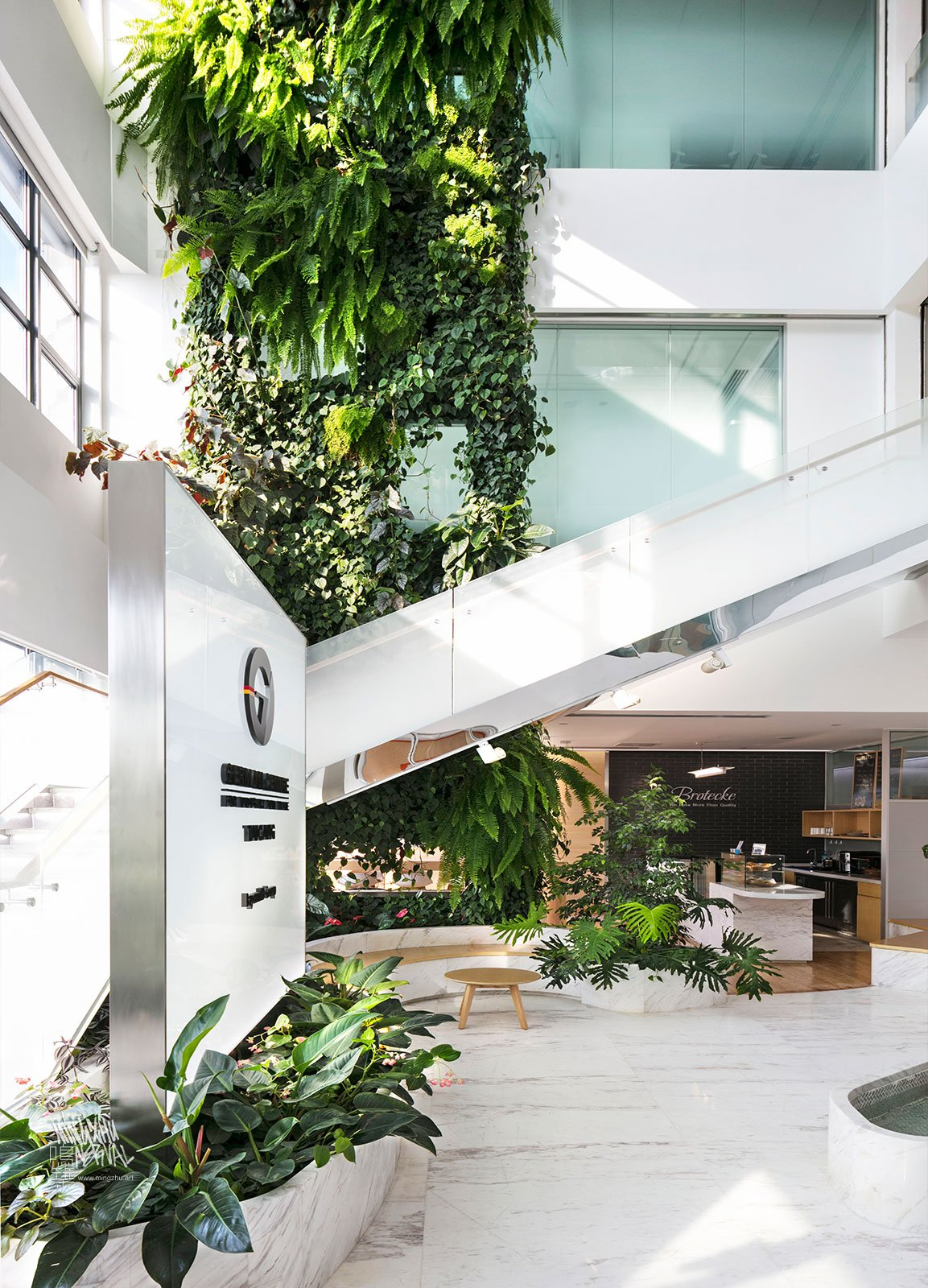 Mingzhu Nerval vertical living wall experts created the green wall nature garden at the German Center in Taicang, 2016