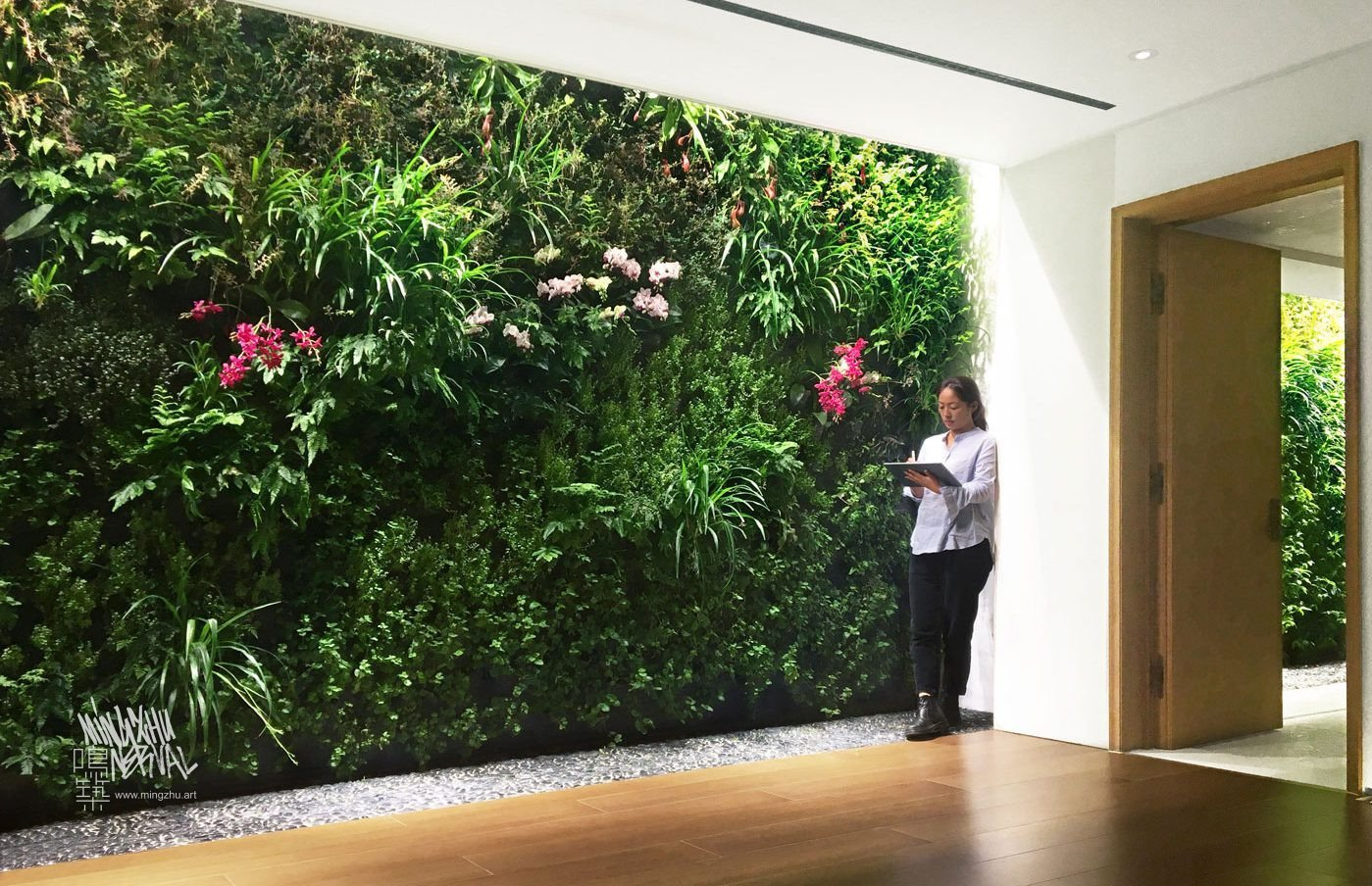 Mingzhu Nerval vertical living wall experts created the garden design for this luxury home villa in Hong Kong, 2016