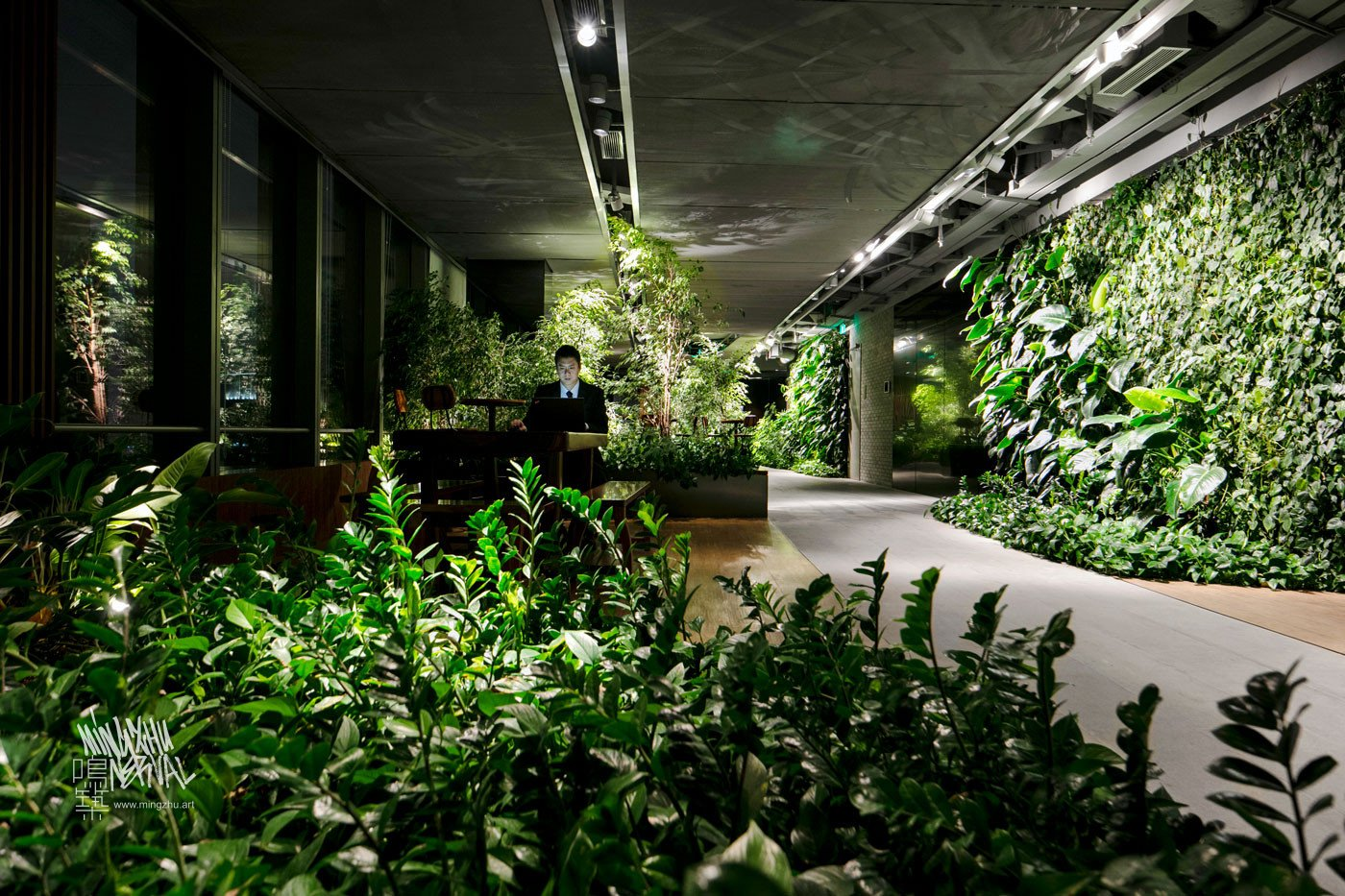 Mingzhu Nerval vertical living wall experts created the best garden design art for the Hines offices in Shanghai, 2016