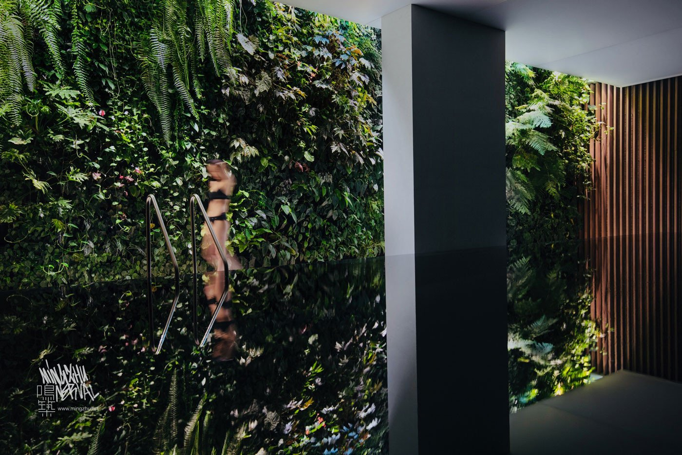 Mingzhu Nerval vertical living wall experts created the garden design for this luxury home villa in Beijing, 2017