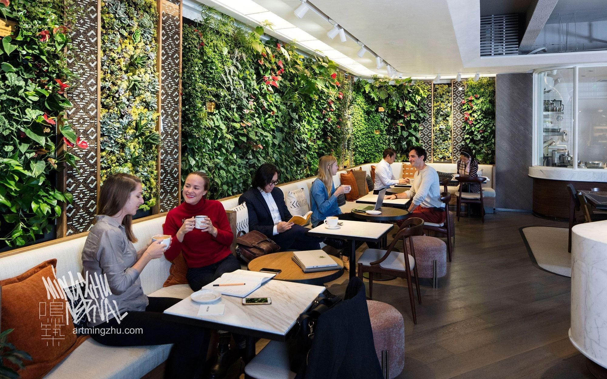 Mingzhu Nerval vertical living wall experts created a vertical living green wall for Peet's Coffee in Shanghai, 2017