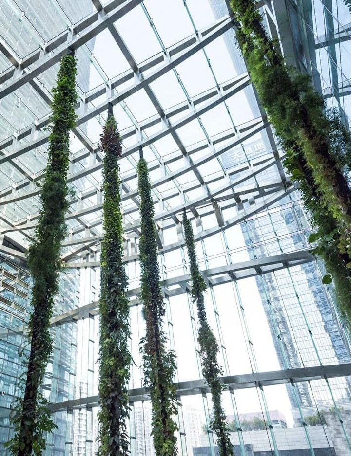 Mingzhu Nerval vertical living wall experts created the best garden design art at the SCC Tower in Shenzhen, 2016