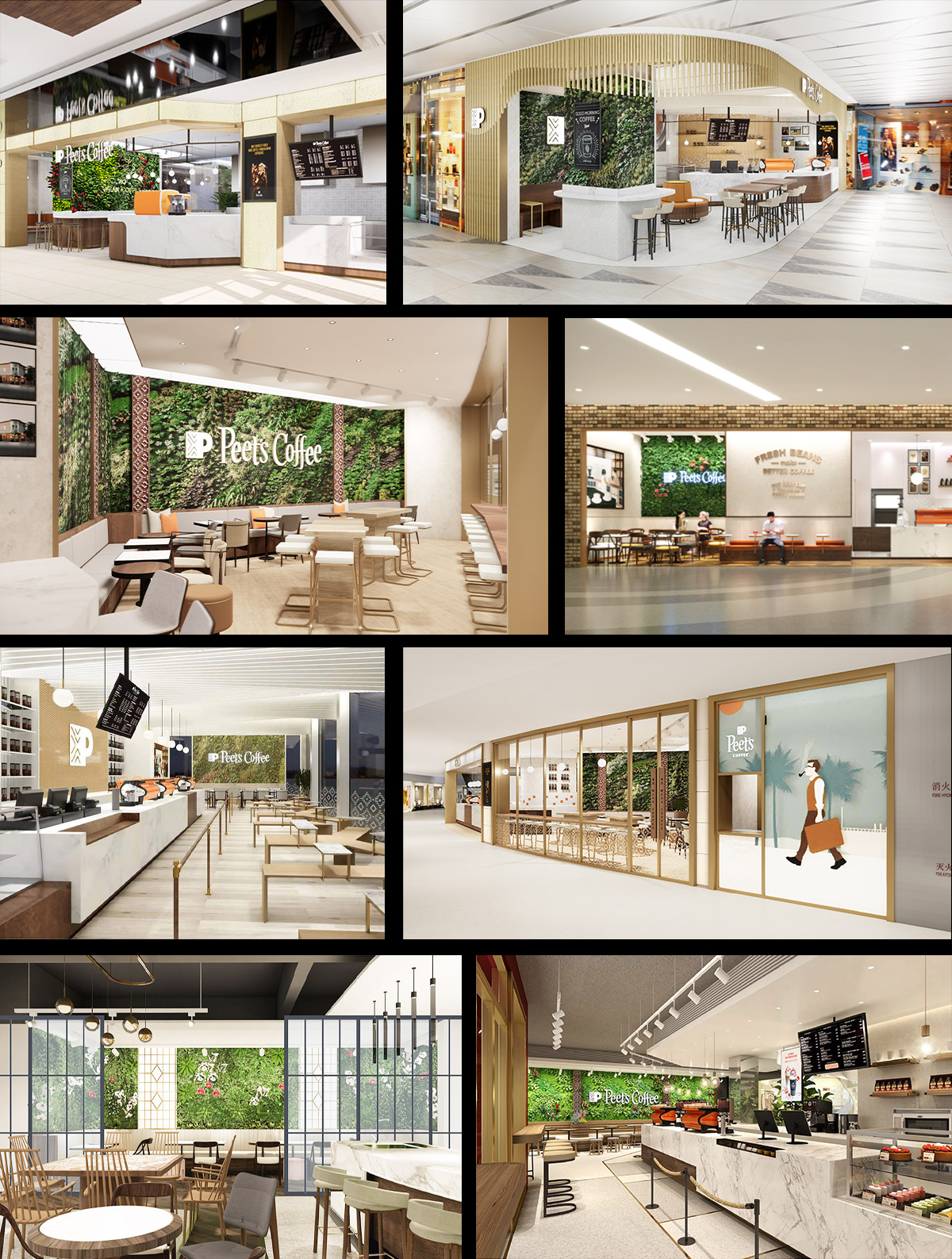 Mingzhu Nerval vertical living wall experts created a vertical living green wall for Peet's Coffee