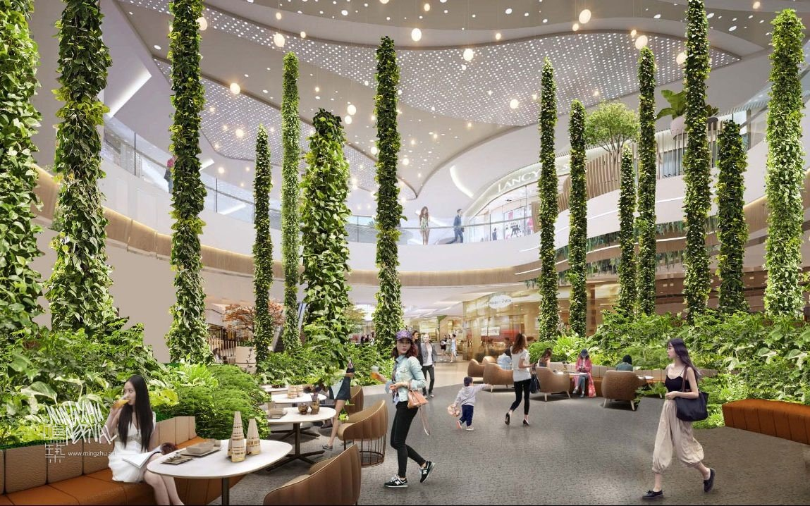 Mingzhu Nerval vertical living wall experts are creating the best green living wall vertical garden design for the Hopson JingAn Mall in Shanghai, 2022