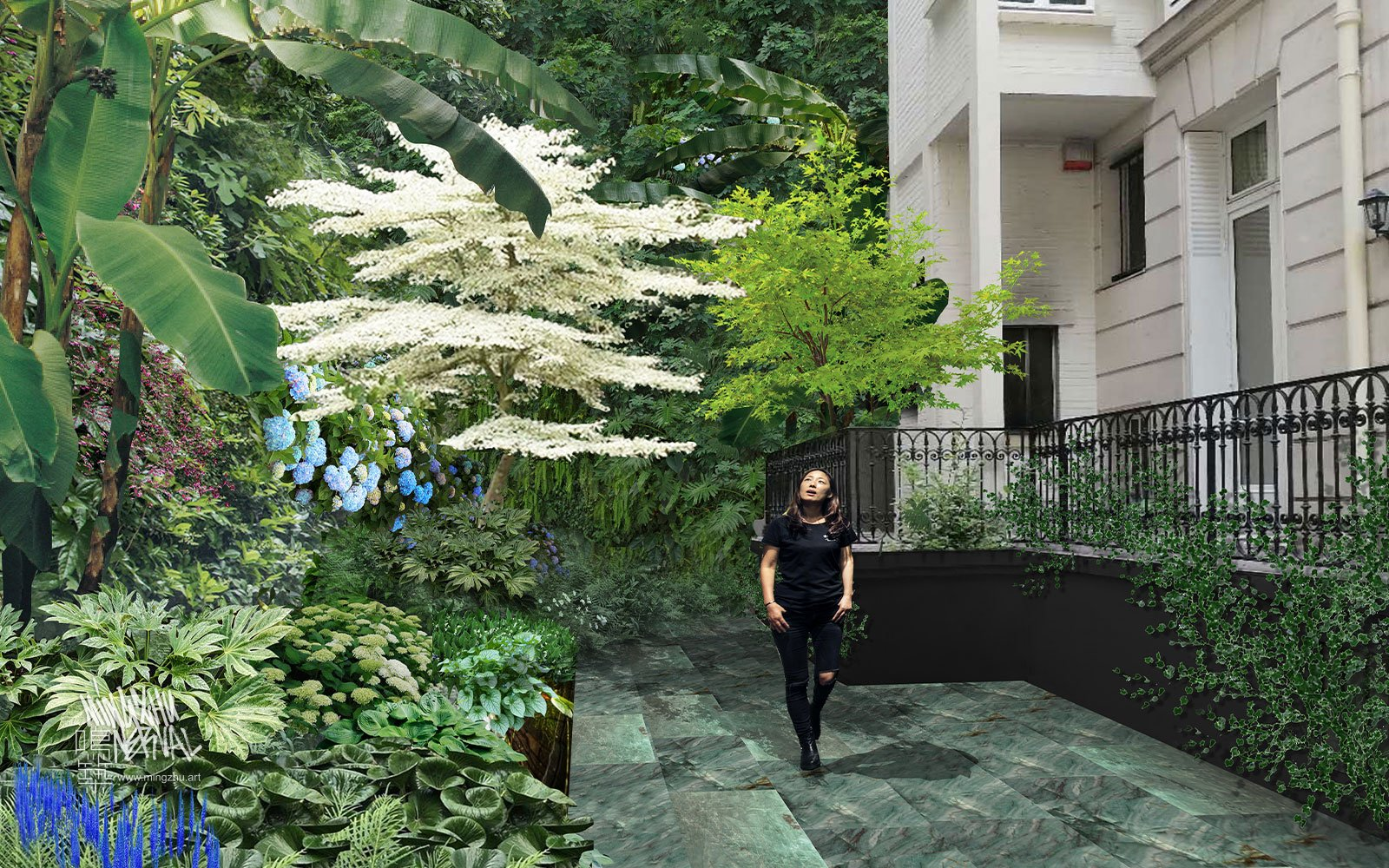 Mingzhu Nerval vertical living wall experts - a lush garden for this private mansion in Paris, 2021