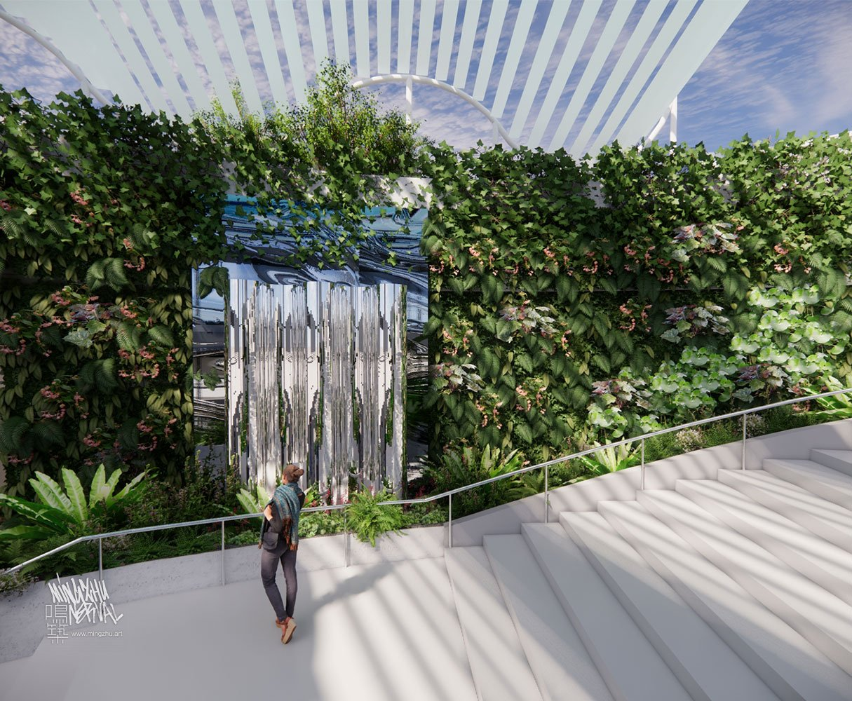 Mingzhu Nerval vertical living wall experts at Brookfield commercial plaza, Shanghai, 2021