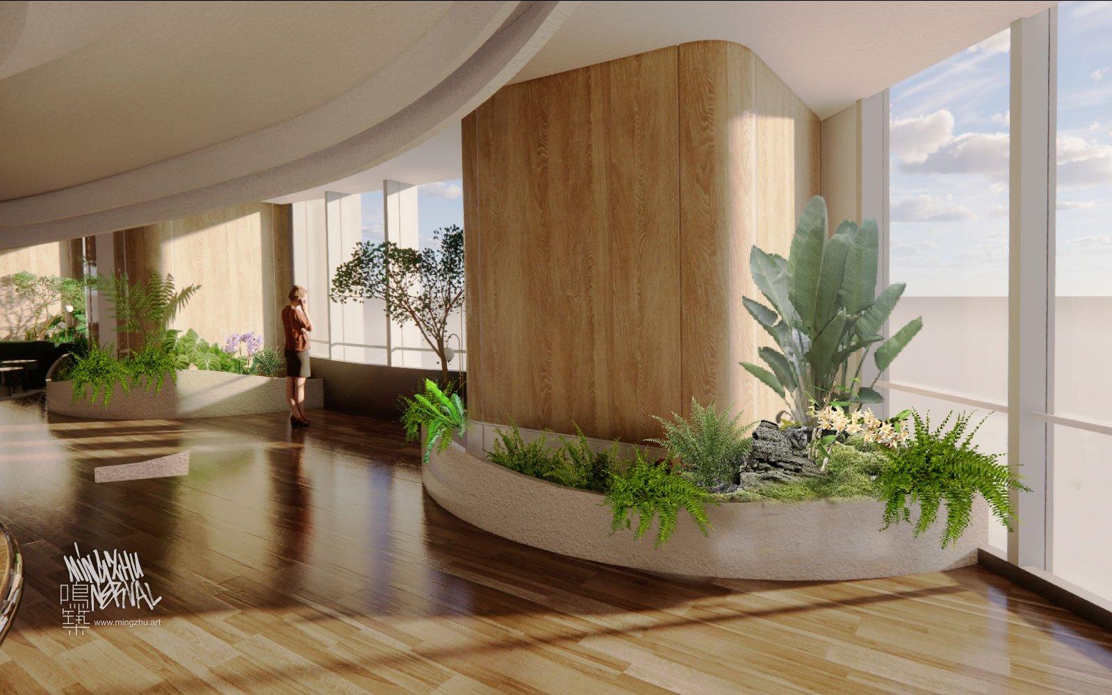 Mingzhu Nerval vertical living wall experts at Vanke showroom, Shanghai, 2021